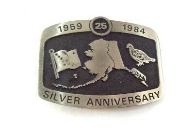 Alaska 25th Silver Anniversary Solid Pewter Vintage 1984 Belt Buckle Serial #