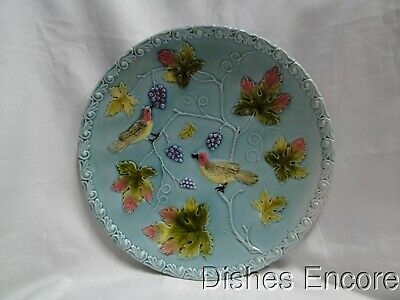 """Zell German Majolica Birds & Grapes 230, Blue: Round Platter, 11 1/8"""" As Is"""