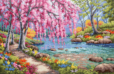 Cross Stitch Kit ~ Dimensions Gold Collection Cherry Blossom Creek #70-35374
