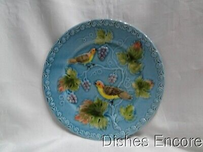 """Zell German Majolica Birds & Grapes 230, Blue: Luncheon Plate, 9 1/4"""" As Is"""