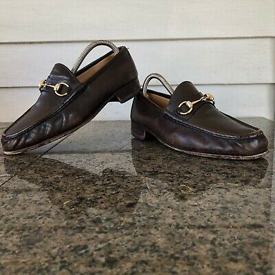 f7c23d0065f Gucci Sz 8.5 M (41.5) Brown Leather Horsebit Loafers Men s Shoes ITALY