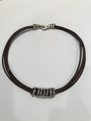 "ILANA GOOR 925 Sterling Silver 7 Rings Brown Leather 15"" Choker Necklace $479"