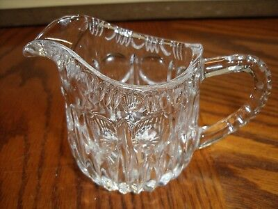 Vintage Antique Creamer Thumbprint Early American Pressed clear Glass