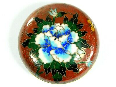 """10 2.83/"""" Center Circular /""""Peony/"""" Handmade Carved Red Color Lacquer Box"""