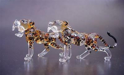 2 Tiny Glass LEOPARDS / CHEETAHS Glassware Painted Glass Animals Glass Ornaments