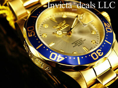 Invicta Men's 40mm Pro Diver SUBMARINER Champagne Dial 18K Gold Plated SS Watch