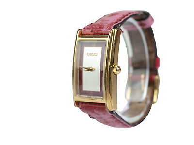 570bc5fedd8 Auth GUCCI 2600L Silver   Bordeaux Dial Leather Band Women s Watch GW12336L