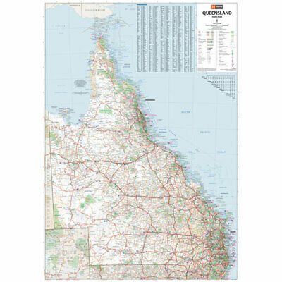 "Map Of Queensland State Poster ""ROAD GUIDE"" WALL CHART size 70 cm X 100 cm"