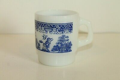 Vintage Fire King Anchor Hocking Blue Willow Milk Glass Coffee Cup/ Mug