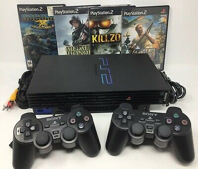 Sony PlayStation PS2 Console Fat Bundle Dual Shock 2 Controllers, CIB Games Lot