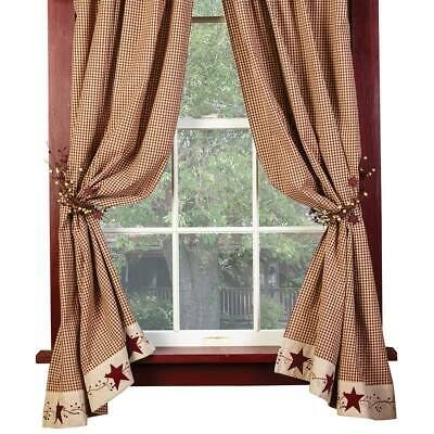 """Burgundy Check Stars and Berries Country Curtain Panels, 63"""" 84"""" Lengths"""