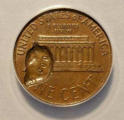 1965 Lincoln Memorial Penny Struck Through Struck Fragment Mint Error ANACS AU53