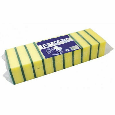 10 Pack Of Heavy Duty Extra Large Catering & Kitchen Sponges Scourers Washing up