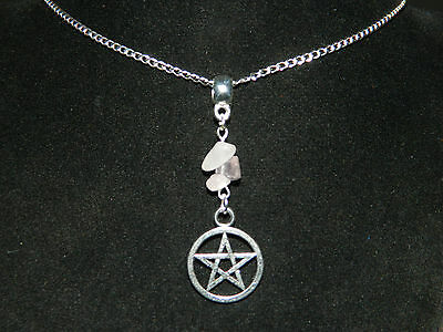 """Gemstone Pentagram Pendant Silver Chain Necklace 16"""" Pagan Wicca Occult Pentacle"""