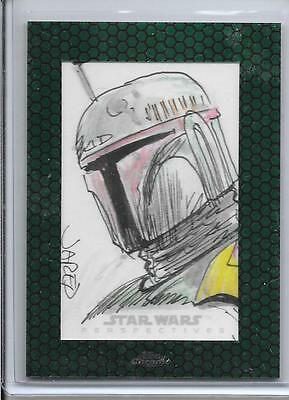 2015 Topps Chrome Star Wars - BOBA FETT - Autograph Sketch Card - JARED HICKMAN