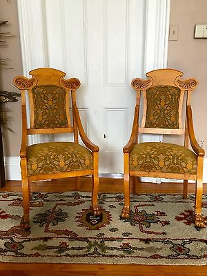 Antique ROCK MAPLE  CHAIRS ~ Italian Upholstery!