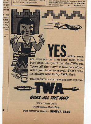 1944 newspaper ad for TWA airlines - Kachina doll, TWA goes all the way