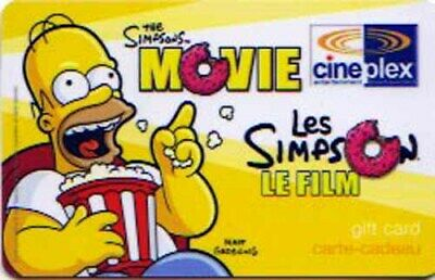 Cineplex THE SIMPSONS - HOMER collectible gift card