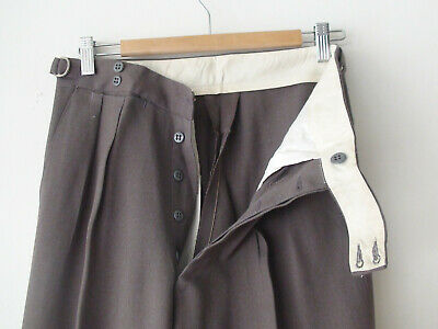 ORIGINAL VINTAGE DEADSTOCK 1940S MEN'S BROWN BUTTON FLY PANTS W28 -32  x 30