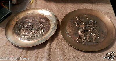 2 Vintage Japanese Chinese Asian Brass Plate Wall Hanging Need Love