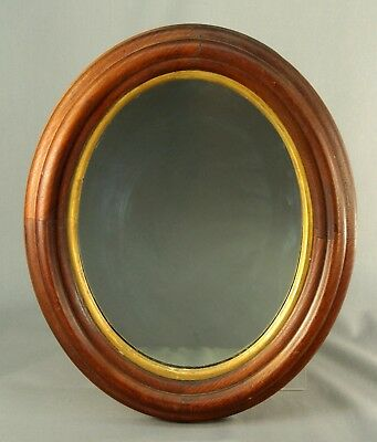 Antique 1800/1900's Oval Mirror in Carved Walnut Frame w. Guilt Edge