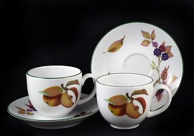 Pair of Royal Worcester Evesham Vale Teap Cups and Saucers