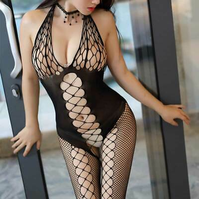 Sexy Women Black Lace Mesh Crotchless Full Body Stocking Lingerie Underwear UK