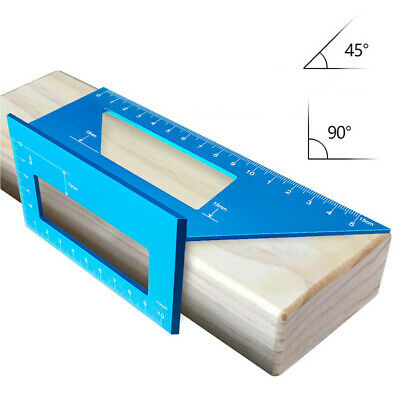 Aluminum Alloy Woodworking Scriber T Ruler Multifunctional 45/90 Degree Angle US