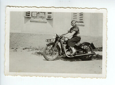 Motor cycle. Young woman. Vintage photo 1940-50. G656