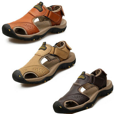 Men's Hiking Genuine Leather Sandals Closed Toe Fisherman Beach Shoes Big Sizes