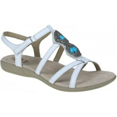 0ddb19dc0bf8 Earth Spirit ELLENSBURG Ladies Womens Casual Leather Embellished Sandals  White