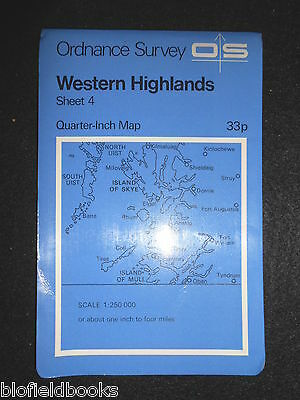 "VINTAGE ORDNANCE SURVEY MAP - Western Highlands, Scotland - c1972 - 1/4"" Skye +"