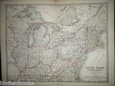 Original Antiquarian Map c1880 of North Eastern United States of North America