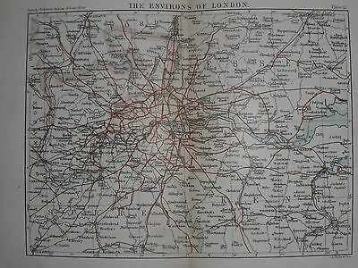 Vintage Philips London City Map c1895 - The Environs of London, Home Counties
