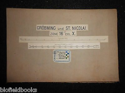 Vintage Folding Map c1880 of Grobming und St Nicolai (Austria) Zone 16, Col X