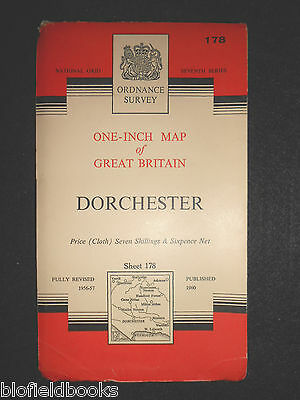 "VINTAGE ORDNANCE SURVEY 1"" MAP - Dorchester - 1960 - Sheet 178 - Dorset Weymouth"