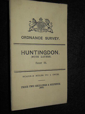 Vintage Ordnance Survey Map; Huntingdon/Bedford - 1909, Large Sheet Series No 24