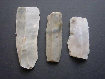 3 Mesolithic TEXTBOOK CLASSIC Flint BLADES Hampshire England