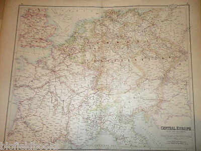 Victorian Double Page Bartholomew Map: Central Europe with the Railways-c1890