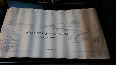 "Book Of Klingon Plans D7 Battle Cruiser 1st Edition Star Trek Vntg. 1975 29""x15"""