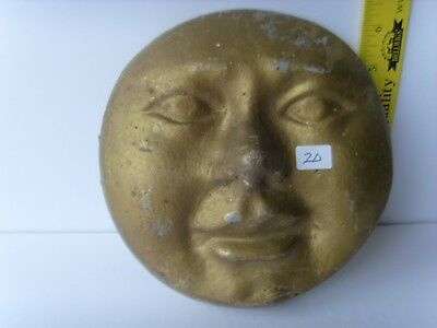 "Antique Pottery ""Man In The Moon  Face"" wall decorative Plaque ~1870-1900 48/20"
