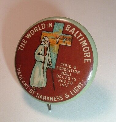 Pageant of Darkness and Light Baltimore Opera /Lyric 1912 Antique Pinback Button