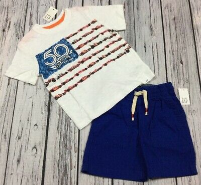 Baby Gap Boys 2 / 2T Outfit. Hot Wheels Shirt & Blue Shorts Outfit. Nwt