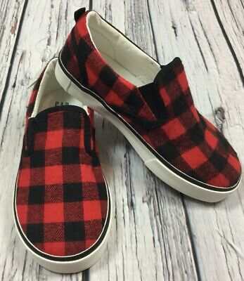 Baby Gap Boys Size 9 (Toddler) Red & Black Plaid Canvas Slip-On Shoes. Nwt
