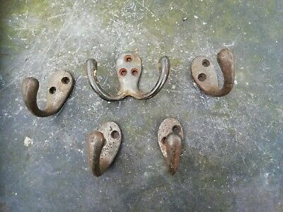 Antique Vintage Five Reclaimed Coat Hooks Original Not Reproduction (Set 4)