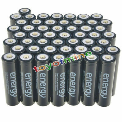50x18650 3.7V 10000mAh Energy Li-ion Rechargeable Battery Black Cell from US