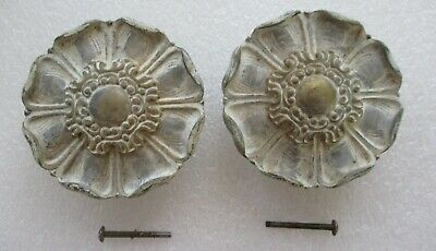 "BRASS ROSETTES DOOR PULLS VINTAGE SHABBY 'n CHIC PAINT DECORATED 4"" model A7560"