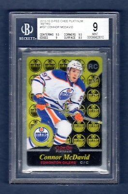 CONNOR McDAVID 2015-16 O-PEE-CHEE PLATINUM RETRO ROOKIE RC BGS 9 MINT OILERS