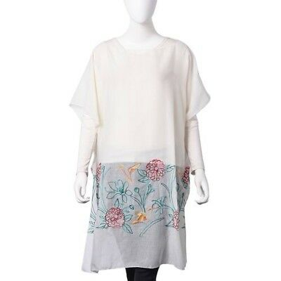 Cream Multi Coloured Embroidered Flower & Bird Poncho Style Top Free Size