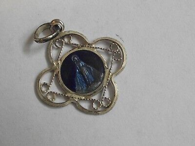 Vtg 2 tone blue enamel Miraculous Virgin Mary ornate open work filigree medal